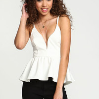 WHITE PLUNGE PEPLUM TOP