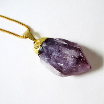 Amethyst Crystal Necklace. February Birthstone. Raw Stone Dipped in Gold