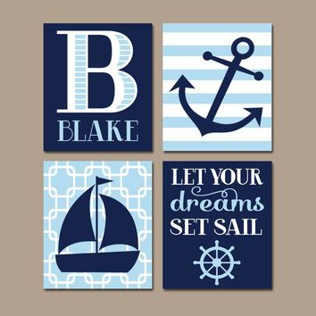 NAUTICAL Nursery Art, Boy Nautical Wall Art, CANVAS or Prints, Baby Coastal Nursery Decor, Set Sail Quote, Sailboat Anchor, Set of 4 Decor