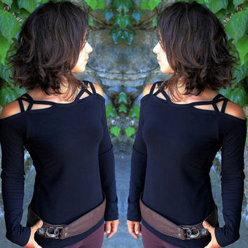 Summer Women Sexy Slash Neck Long Sleeve Solid Color Modal Tops & Tees Womens Elegant Hollow out tops & t shirts Femininas