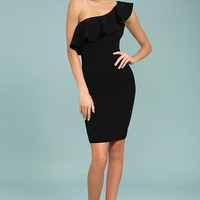 Life is But a Dream Black One-Shoulder Bodycon Dress