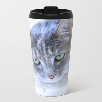 Aqua Eyes Metal Travel Mug by Theresa Campbell D'August Art