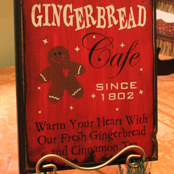 gingerbread cafe signhand paintedredchristmas decorgingerbread decor wood - Painted Wood Cafe Decoration