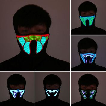 Halloween LED Glowing Mask Light Cosplay Luminous Flash Masks Party Prop Masquerade Masks Carnaval Christmas Mascaras Disfraces