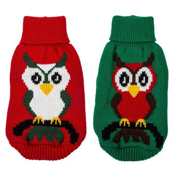 Ugly Christmas Cat Sweater with Owl Pattern