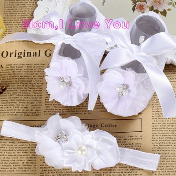 Ivory newborn Booties christening shoes for baby girl;infant headband set toddler baby shoes ballerina; girls baptism set