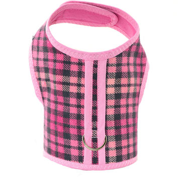 Pink Plaid Brushed Cotton Dog Cat Vest Harness