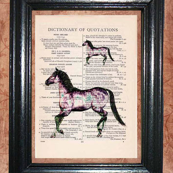 Solarized Dream Purple Dapple Horse - Vintage Dictionary Book Page Art Unique Upcycled Page Art Wall Decor Kitsch Art Print