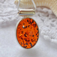 Amber necklace, baltic amber, sterling necklace, amber jewelry, amber fossil, raw amber, fossilized, natural amber, gemstone necklace