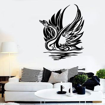 Wall Stickers Vinyl Decal Swan Bird Wave Tribal Art Decor Murals Unique Gift (ig146)