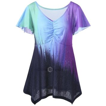 V Neck Plus Size Ombre Top