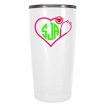 YETI 20 oz Nurse Pink Heart Stethoscope Monogram on White Tumbler