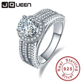 JQUEEN wedding rings 3.45ct cubic zirconia stone 925 Sterling Silver Rings for Women engagement ring Aneis Delicado with box