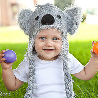 Koala Bear Hat with Fuzzy Ears and Earflaps for Boy or by IraRott