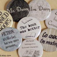 Literature Pinback Buttons I read banned books by MonsterBrand