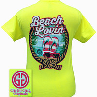 Girlie Girl Originals Beach Lovin Flip Flops Sunglasses Safety Green Bright T Shirt