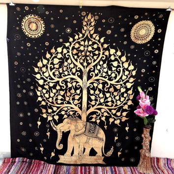 Golden brown tree of life elephant tapestry wall hanging room decor mandala beach throw bedspread table throw