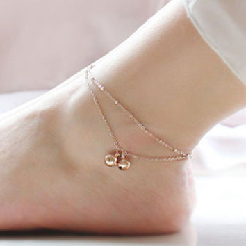 New Arrival Sexy Gift Jewelry Ladies Cute Shiny Stylish Double-layered Tassels Bells Titanium Anklet [8080505543]