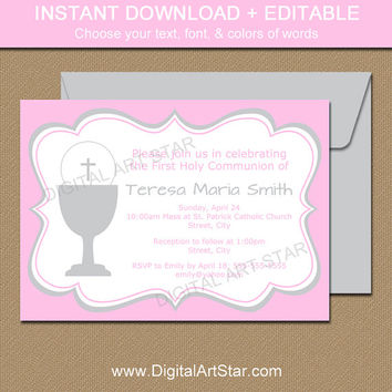 Girl First Communion Invitations - Printable Pink & Gray First Communion Invites - Downloadable Invitation Template EDITABLE PDF