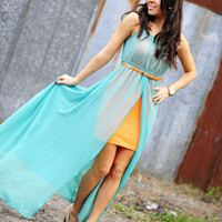 Sheer Perfection Maxi Dress: Emerald/Coral   Hope's