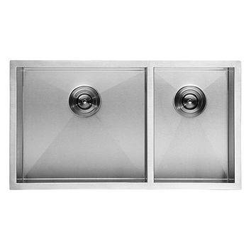 DAX-KA-SQ-3320 / DAX HANDMADE 60/40 SQUARE DOUBLE BOWL UNDERMOUNT KITCHEN SINK, 18 GAUGE STAINLESS STEEL, BRUSHED FINISH