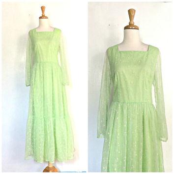 Vintage 60s Boho Maxi - hippie dress - green bridesmaid - wedding dress - sheer sleeve - M L