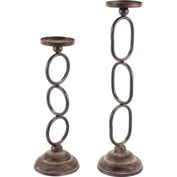 Chain Candle Holders Antique (Set of 2)
