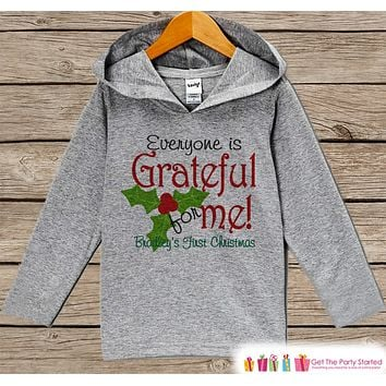 Baby's First Christmas - Kids Hoodie Pullover - Grey Christmas Sweater - Newborn Christmas - Holiday Outfit for Baby, Toddler, Youth