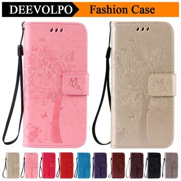 DEEVOLPO Leather Case For Apple iPhone 4 4S 5C 5 5S SE 6 6S 7 Plus For iPod Touch 5 6 Tree Cat Pattern Phone Capa Funda DP128