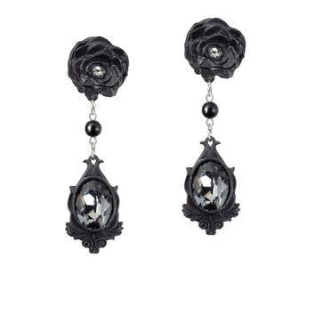 Alchemy Gothic Dark Desires Black Rose Earrings
