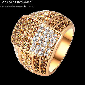 ANFASNI Bijoux Fashion Multi Color Genuine Austrian Crystal Ring Rose Gold Plated Women Costume Jewelry Rings Ri-HQ0020