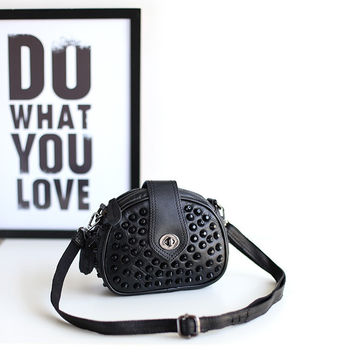 Korean Stylish Leather Mosaic One Shoulder Chain Punk Rivet Bags [4915798852]