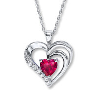 Heart Necklace Lab-Created Ruby Sterling Silver