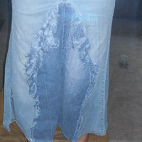 Sale Up Cycled Boho Jean Skirt Recycled Upcycled Steampunk Hippie Boho Tattered Goth Recycled Long Jean Skirt fringe denim jean skirt sz 3