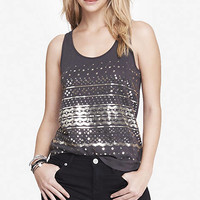 GRAY SEQUIN SHIRTTAIL TANK from EXPRESS