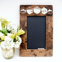 Rustic Wood Framed Fall Chalkboard Gift Home Decor Menu Bar or Kitchen Blackboard (#1224-S19)