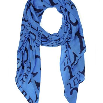 Mainbocher Blue Cascading Logo Wool Scarf by Juicy Couture, No