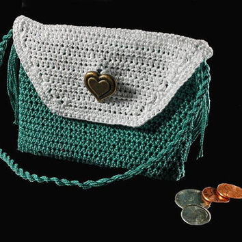 Crochet Purse, Leather Interior, Coin Purse. Handmade