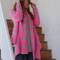 Diamond Print Cardigan: Pink/Grey