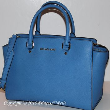 MICHAEL KORS Selma LARGE Satchel Leather Tote Bag Purse Handbag Heritage Blue