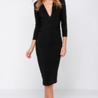 Lovers + Friends Heartache Black Midi Dress