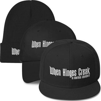 When Hinges Creak Hat. Disney's Magic Kingdom, Disneyland, Haunted Mansion Inspired Hat. Snapback, Dad Hat and Beanie