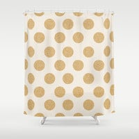 Glittering Gold Dots Shower Curtain by Allyson Johnson