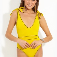 Tie Shoulder One Piece - Dandelion