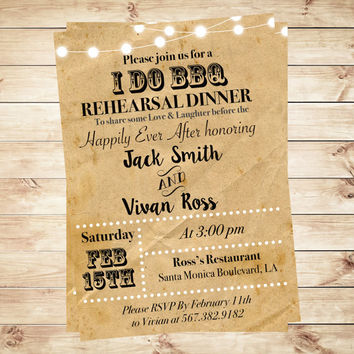 "Customized ""I Do"" BBQ Invitations for couples showers, Wedding Engagement Party Invitation, I Do BBQ Rehearsal Dinner Invitation Chalkboard"