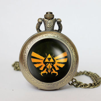 Handmade Zelda Hyrule Crest  pocket watch locket necklace legend of Zelda Triforce Inspired vintage  locket necklace