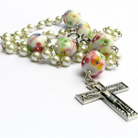 White Pearl Catholic Rosary, Flower Rhinestone Beads, Mothers Day Gift