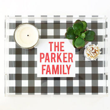 Personalized Acrylic Tray Custom Lucite Tray Buffalo Check Serving Tray Acrylic Coffee Table Tray Wedding Gifts Bar Tray Christmas Card Tray