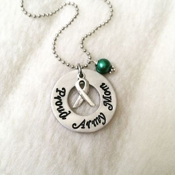 Custom Proud Army Mom Soldier Deployment Necklace Military Gift Wife Girlfriend