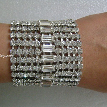 "Jewels by WEISS Ready to Cause a Sensation Phenomenal HUGE 11-Row 2"" Wide Glitzy Sparkle Baguette&Round Cut Rhinestone Deco Couture Bracelet"